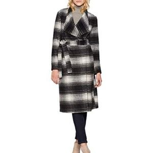BB Dakota plaid tie waist winter coat